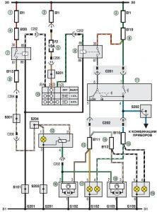 Електросхема з'єднання приладів освітлення Деу Ланос