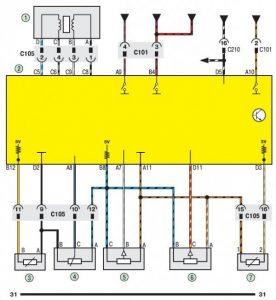 Електросхема системи управління двигуном Daewoo Lanos